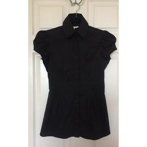 Diane Von Furstenberg Black Pleated Courtney Shirt